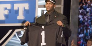 Apr 28, 2007 - New York, NY, USA - The NFL Draft was held at Radio City Music Hall in New York City. JaMarcus Russell was selected by the Raiders with the no. 1 overall pick. Calvin Johnson went to the Lions with the second pick. Gaines Adams went to the Buccaneers with the 4th pick. Adrian Peterson went to the Vikings with the 7th pick. Brady Quinn went to the Browns with the 22nd pick. PICTURED: JAMARCUS RUSSELL.  (Photo by John Dunn/Sporting News via Getty Images)